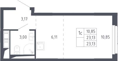 Студия, 23.13 м²