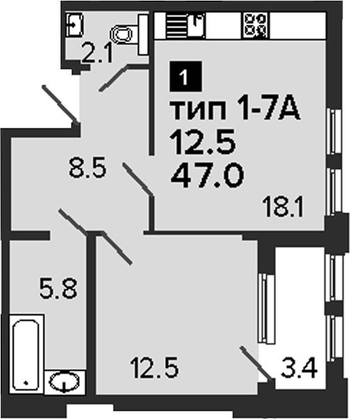1-к.кв, 50.4 м²