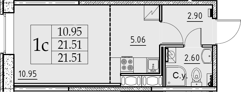 Студия, 21.51 м², 2 этаж