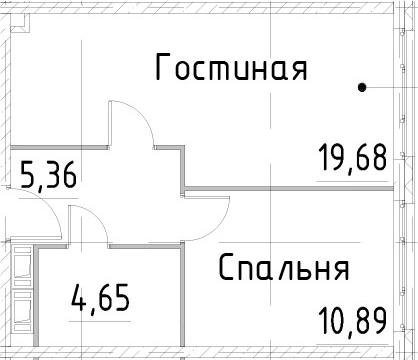 2Е-к.кв, 40.57 м², 22 этаж