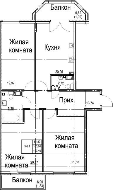 4-к.кв (евро), 116.37 м²