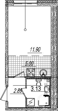 Студия, 22.92 м²