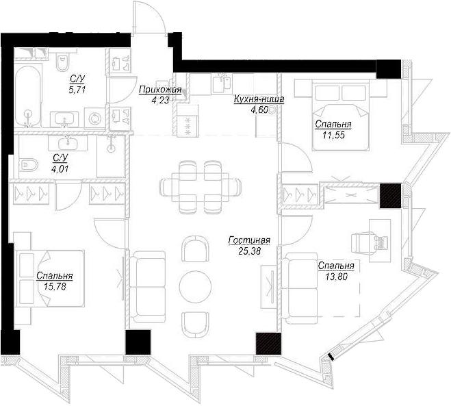 4Е-комнатная, 85.05 м²– 2