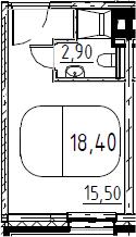 Студия, 18.4 м², 8 этаж – Планировка