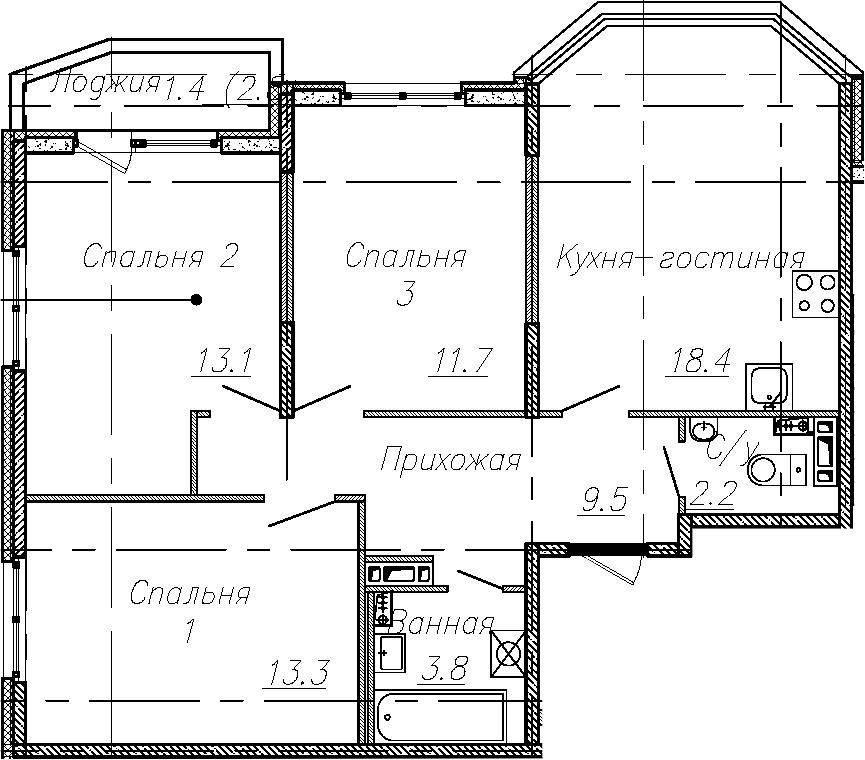 4Е-к.кв, 72 м²