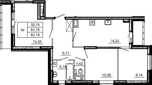 3-к.кв, 65.18 м²