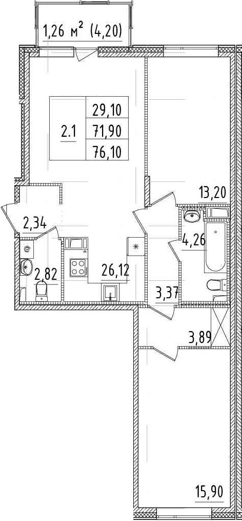 3Е-комнатная, 71.9 м²– 2