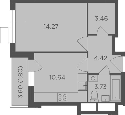 1-комнатная, 38.32 м²– 2