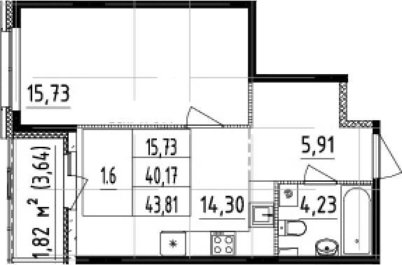 1-к.кв, 43.81 м²
