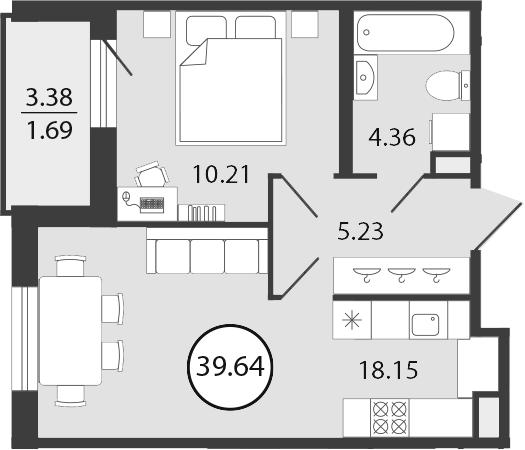 2Е-комнатная, 39.64 м²– 2