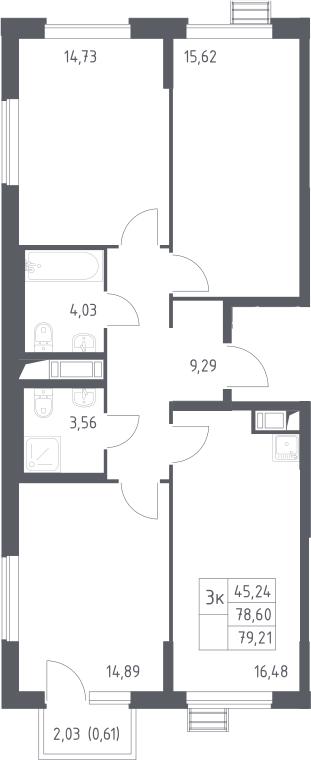 3-комнатная, 79.21 м²– 2