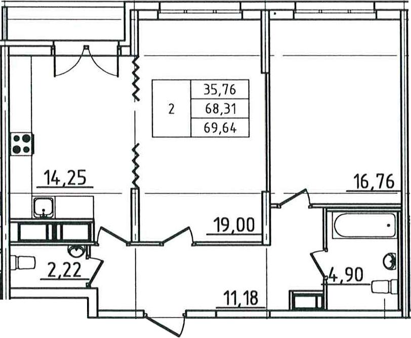 2-к.кв, 69.64 м²