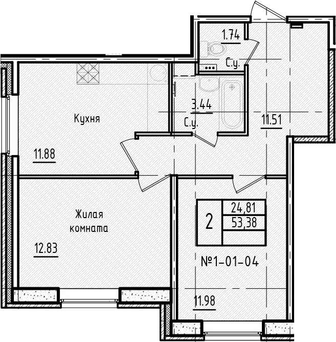 2-к.кв, 53.38 м²