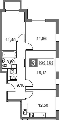 3-к.кв, 66.08 м²