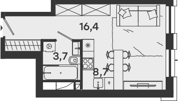 Студия, 28.8 м²– 2