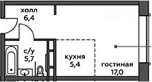 Студия, 34.5 м²– 2