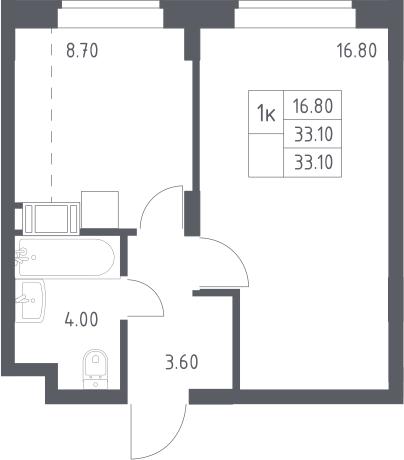 1-к.кв, 33.1 м², 14 этаж