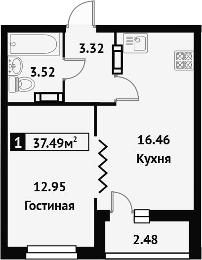 1-к.кв, 38.73 м²