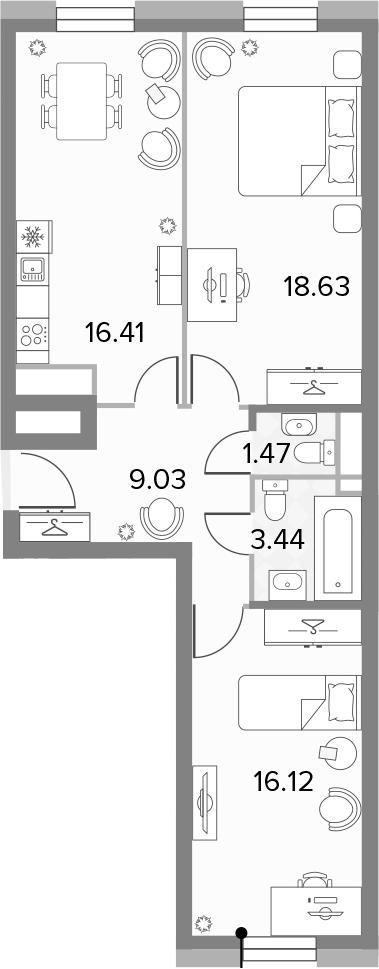 3Е-комнатная, 65.11 м²– 2