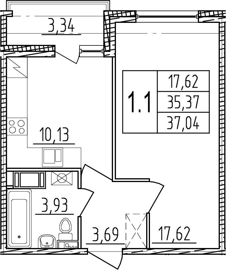 1-комнатная, 35.37 м²– 2