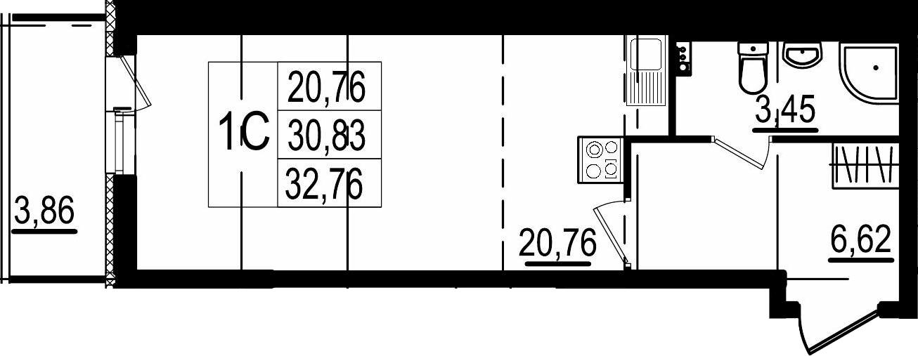 Студия, 34.69 м²