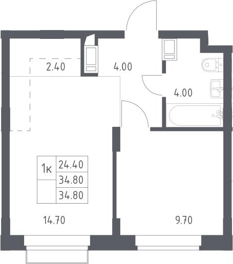 2Е-к.кв, 34.8 м², 5 этаж