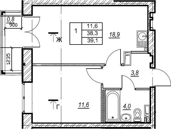 1-к.кв, 39.1 м², 9 этаж