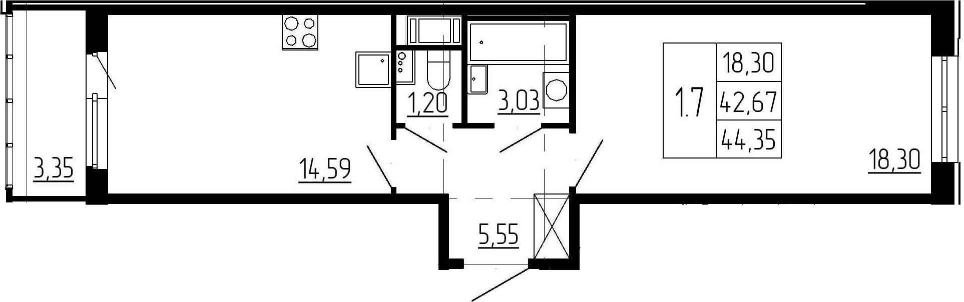 1-к.кв, 42.67 м², 5 этаж