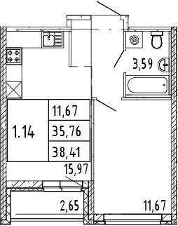 2Е-комнатная квартира, 37.09 м², 13 этаж – Планировка