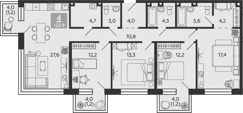 5Е-комнатная квартира, 122.9 м², 13 этаж – Планировка