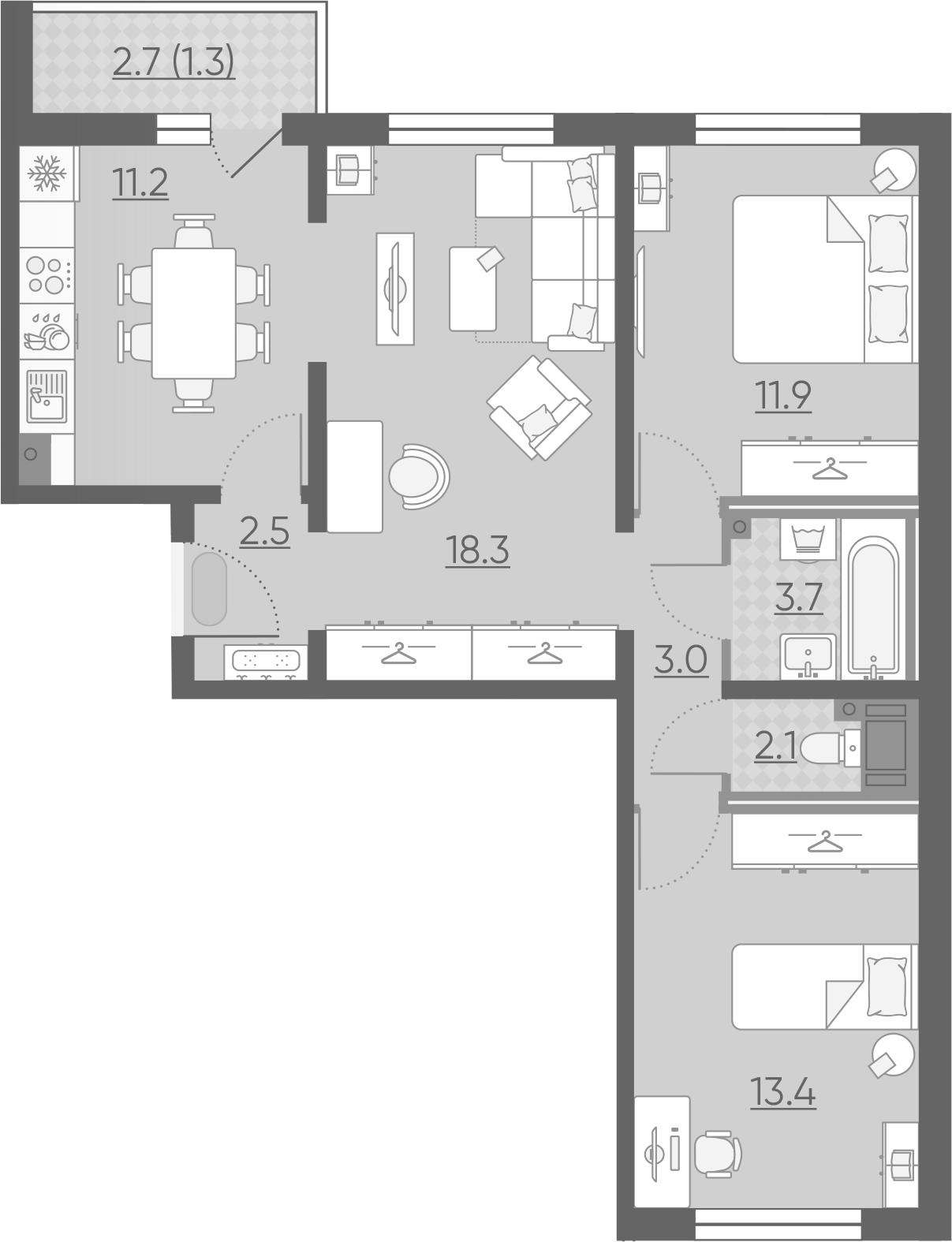 3-комнатная квартира, 67.4 м², 2 этаж – Планировка