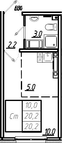 Студия, 20.2 м²– 2