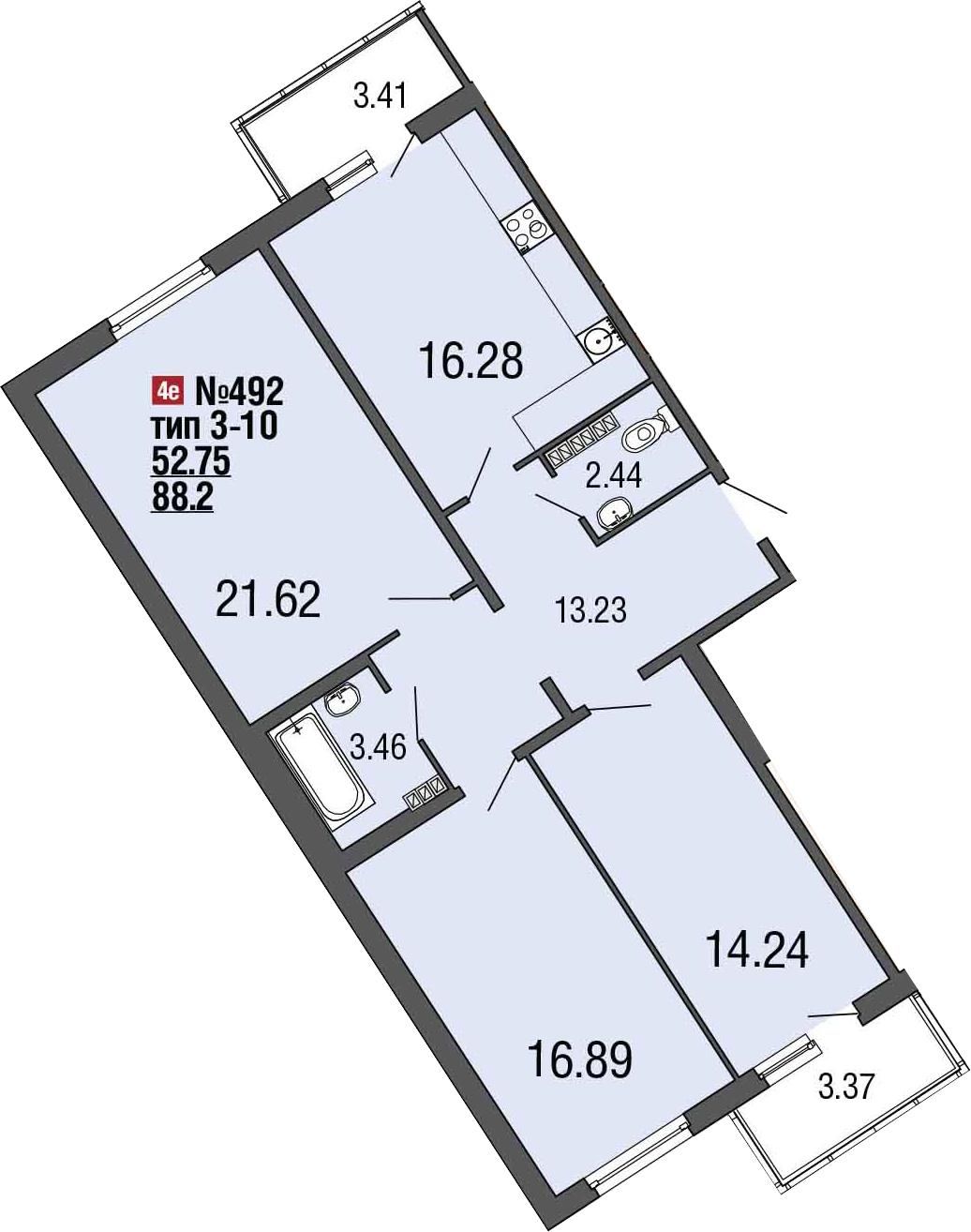 4-к.кв (евро), 94.98 м²