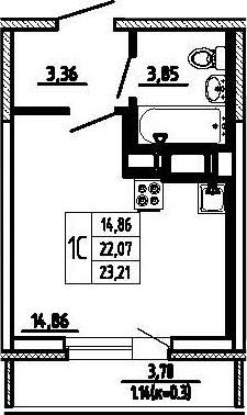 Студия, 23.21 м², 17 этаж