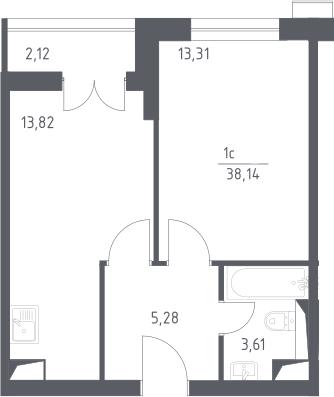 2Е-комнатная, 38.14 м²– 2