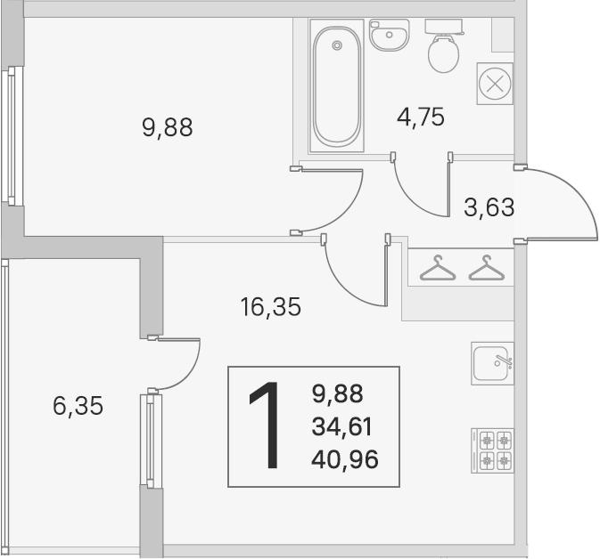 2Е-комнатная, 34.61 м²– 2