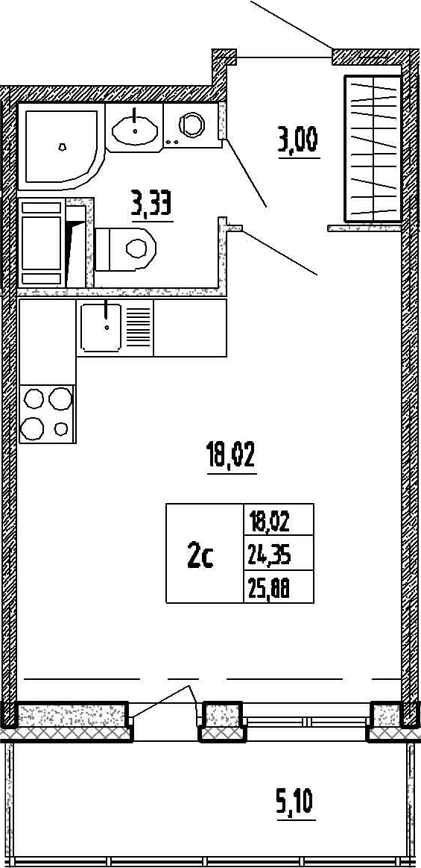 Студия, 24.35 м²– 2