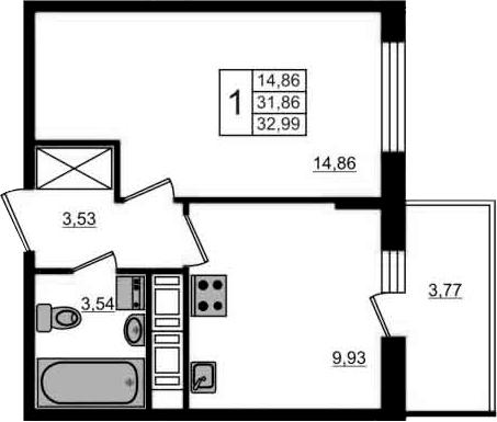 1-к.кв, 35.63 м²