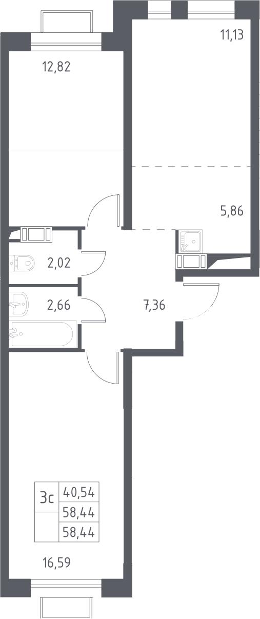 3Е-комнатная, 58.44 м²– 2