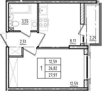 1-к.кв, 29.11 м²