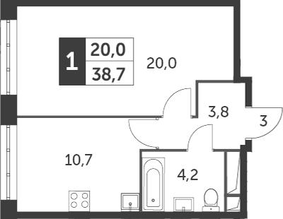 1-комнатная квартира, 38.7 м², 7 этаж – Планировка