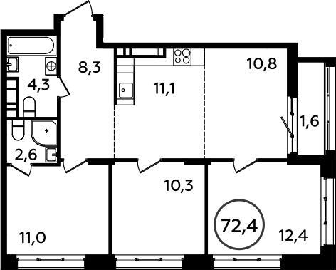 4Е-комнатная, 72.4 м²– 2