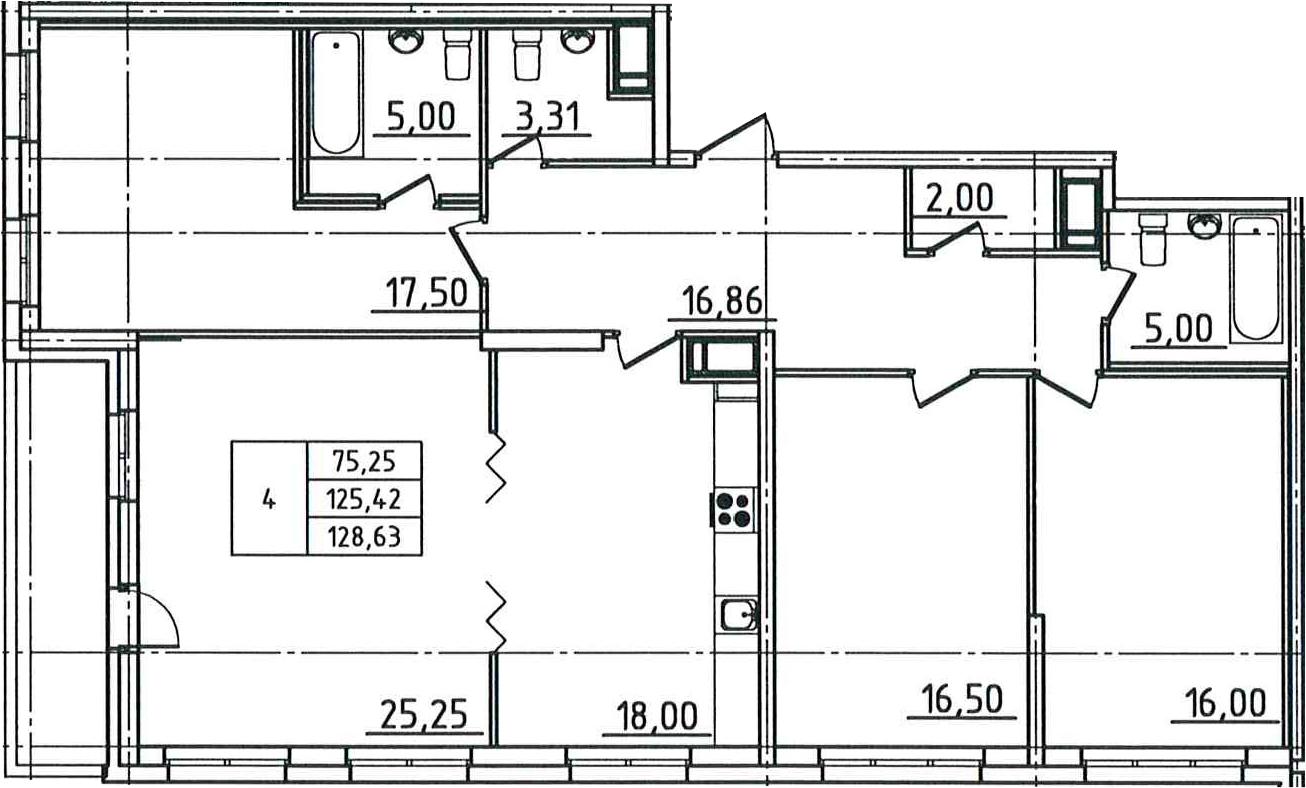 5Е-комнатная, 128.63 м²– 2