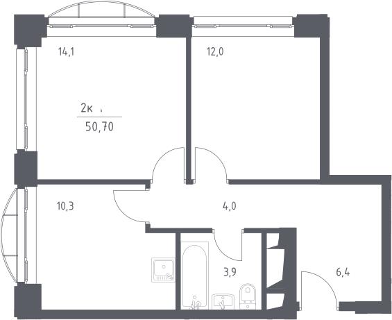2-к.кв, 50.7 м², 6 этаж