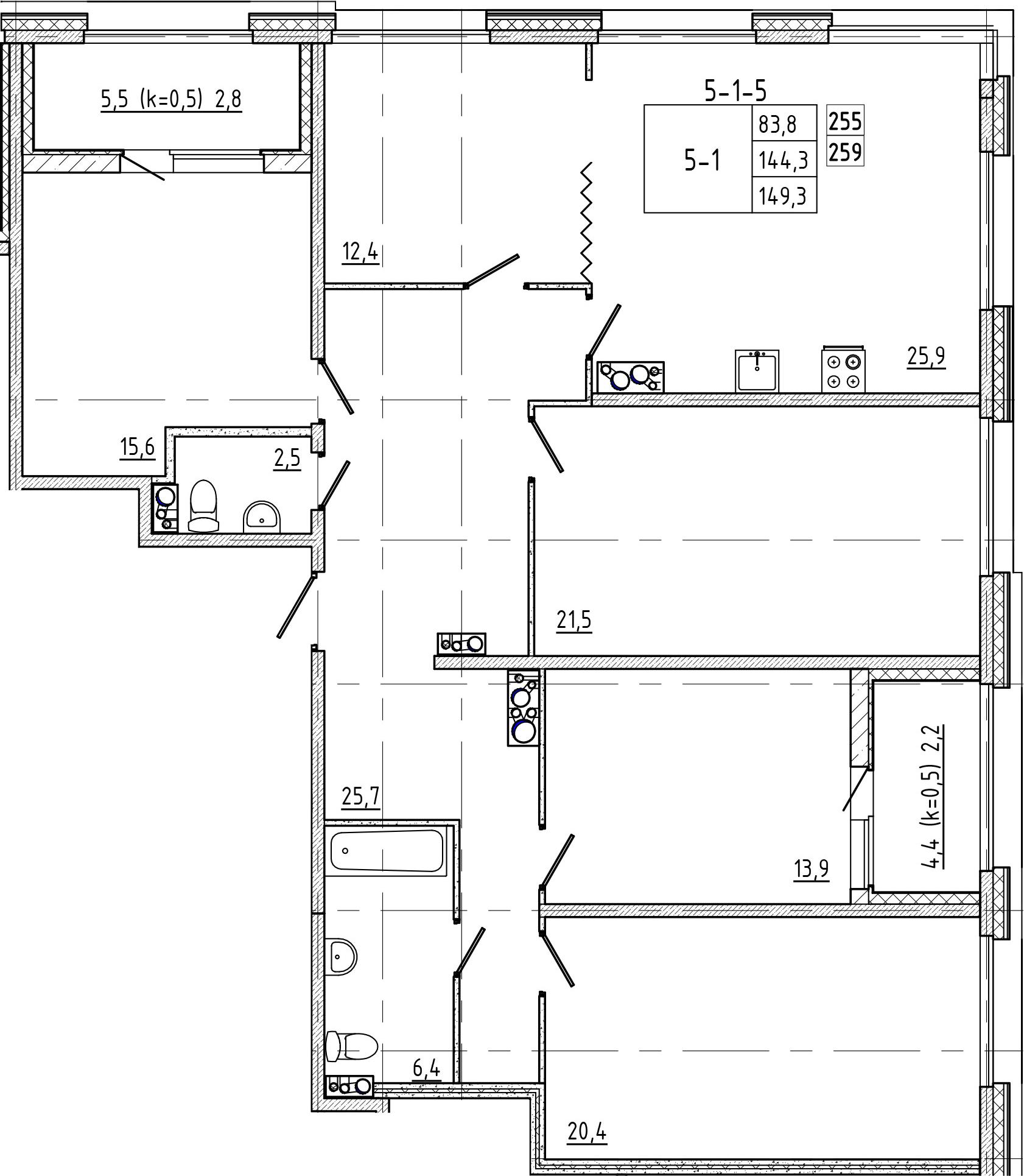 5-комнатная, 149.3 м²– 2