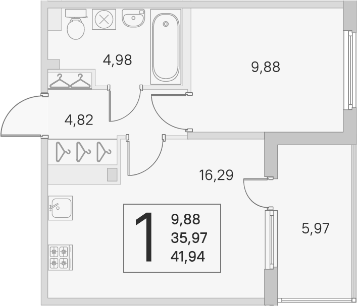 2Е-комнатная, 35.97 м²– 2