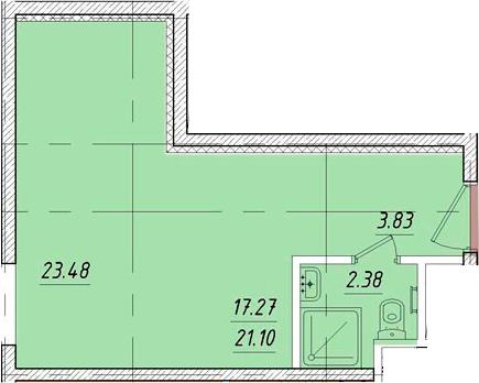 Студия, 23.48 м²