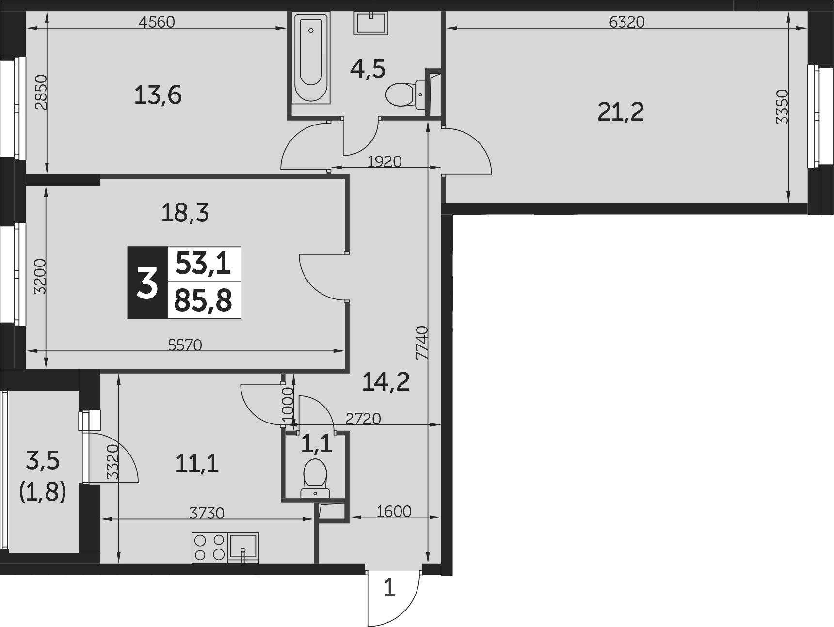 3-комнатная квартира, 85.8 м², 2 этаж – Планировка