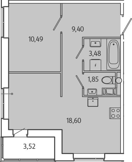 2Е-комнатная, 45.58 м²– 2