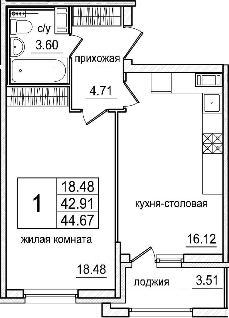 2-к.кв (евро), 46.42 м²